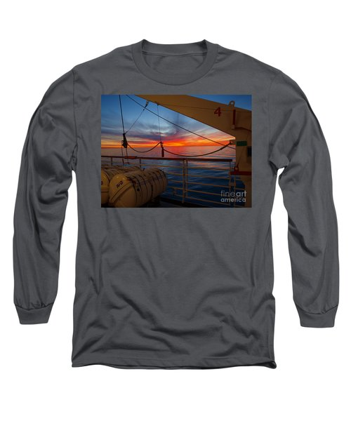 Long Sleeve T-Shirt featuring the photograph Sunset At Sea by Trena Mara