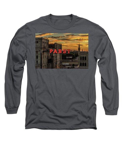 Sunset At The Brewery Long Sleeve T-Shirt by Randy Scherkenbach