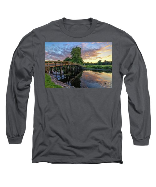 Sunset At The Old North Bridge Long Sleeve T-Shirt
