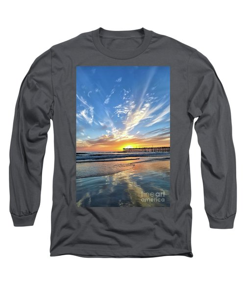 Sunset At The Pismo Beach Pier Long Sleeve T-Shirt by Vivian Krug Cotton