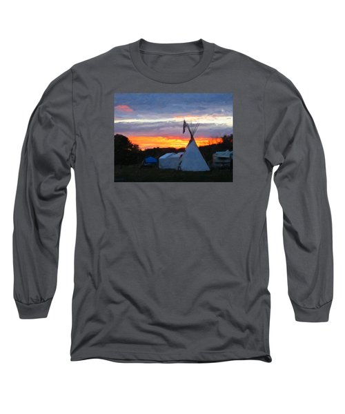 Sunset At The Powwow Long Sleeve T-Shirt by Spyder Webb