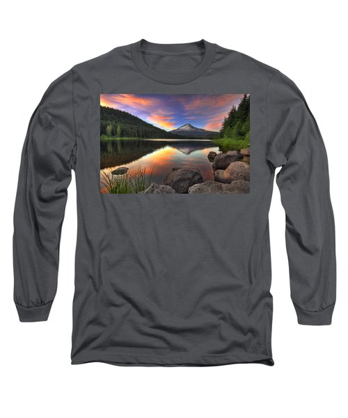 Sunset At Trillium Lake With Mount Hood Long Sleeve T-Shirt