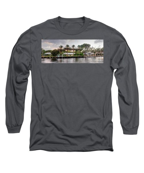 Sunset Behind Residential Palms Long Sleeve T-Shirt