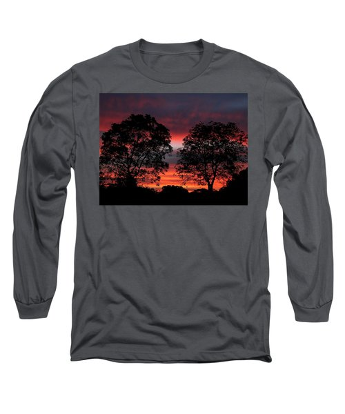 Sunset Behind Two Trees Long Sleeve T-Shirt by Sheila Brown