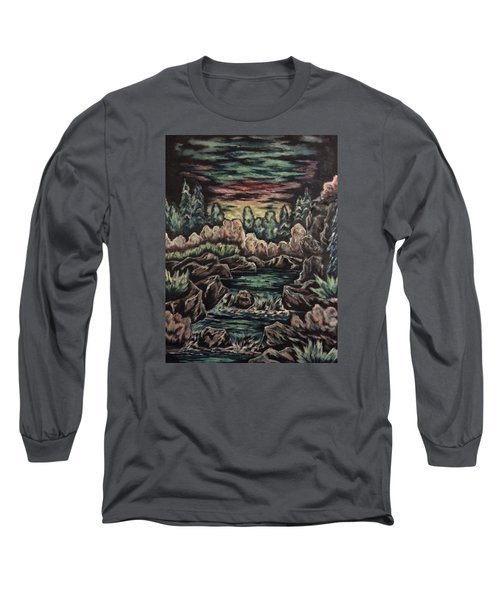 Long Sleeve T-Shirt featuring the painting Sunset by Cheryl Pettigrew