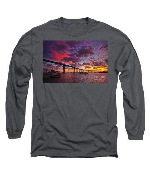 Sunset Crossing At The Coronado Bridge Long Sleeve T-Shirt