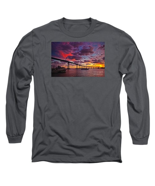 Sunset Crossing At The Coronado Bridge Long Sleeve T-Shirt