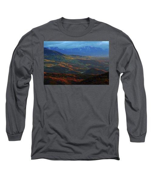 Sunset During Autumn Below The San Juan Mountains In Colorado Long Sleeve T-Shirt