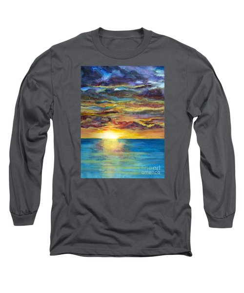 Long Sleeve T-Shirt featuring the painting Sunset II by Suzette Kallen