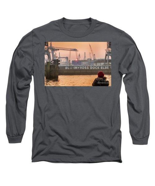 Sunset In Hamburg Port Germany Long Sleeve T-Shirt
