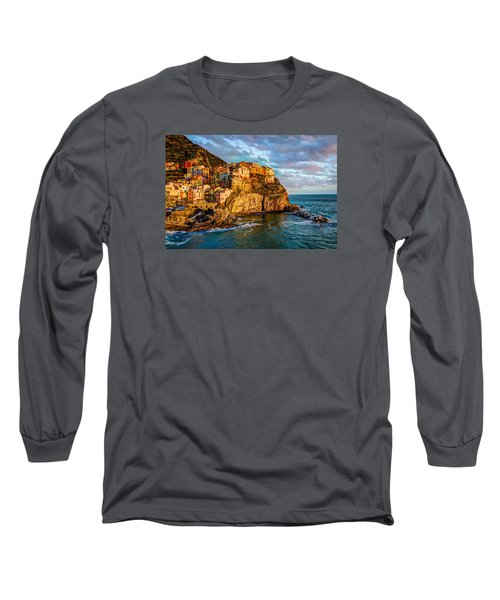 Long Sleeve T-Shirt featuring the photograph Sunset In Manarola by Wade Brooks