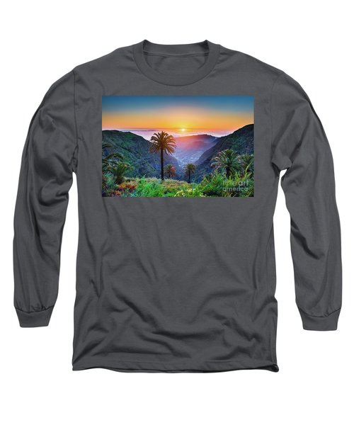 Sunset In The Canary Islands Long Sleeve T-Shirt by JR Photography
