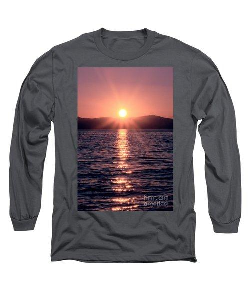 Sunset Lake Verticle Long Sleeve T-Shirt