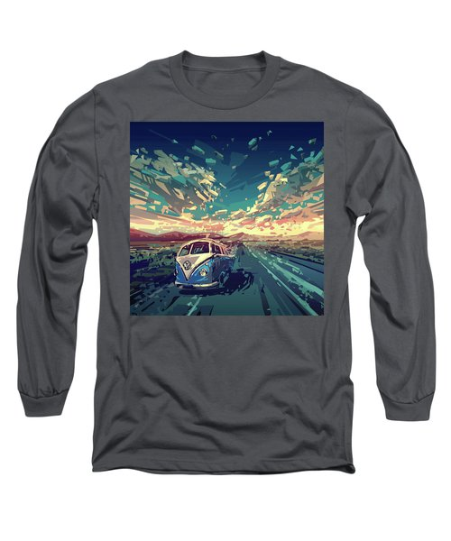 Sunset Oh The Road Long Sleeve T-Shirt by Bekim Art