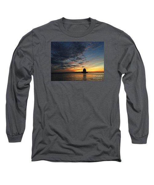 Sunset On Lorain Lighthouse Long Sleeve T-Shirt
