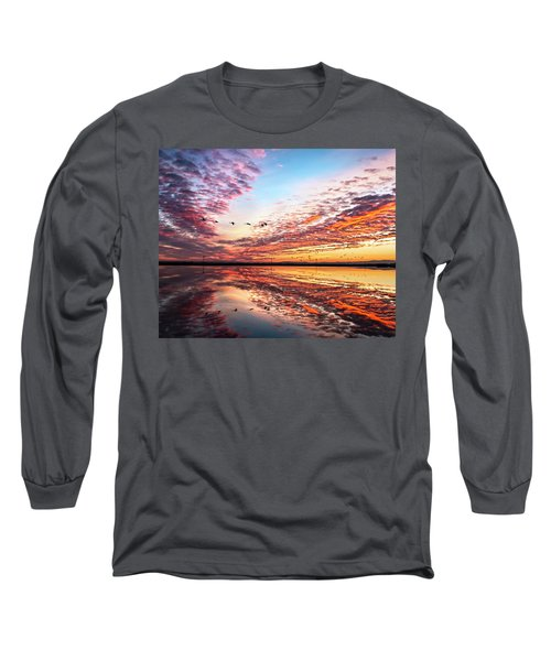 Sunset On The Pacific Flyway Long Sleeve T-Shirt