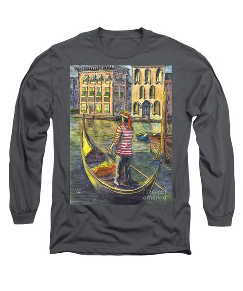 Long Sleeve T-Shirt featuring the painting Sunset On Venice - The Gondolier by Carol Wisniewski