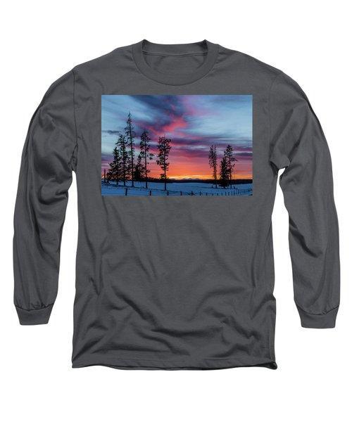 Sunset Over A Farmers Field, Cowboy Trail, Alberta, Canada Long Sleeve T-Shirt