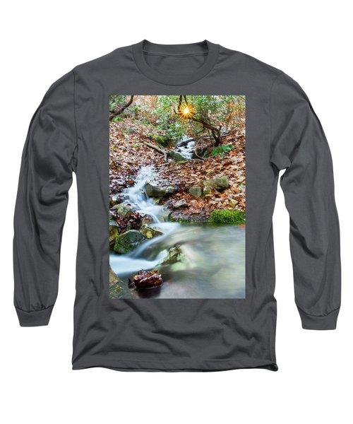 Long Sleeve T-Shirt featuring the photograph Sunset Over An Oak Mountain Stream by Parker Cunningham