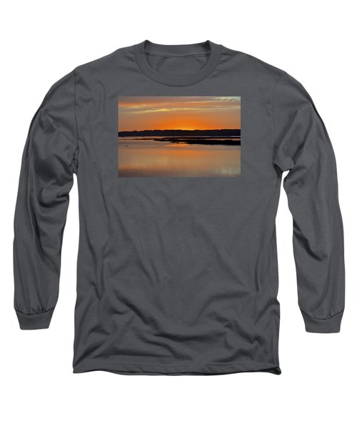 Sunset Over Broad Creek Long Sleeve T-Shirt by Carol Bradley