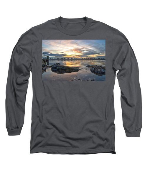 Sunset Over Lake Kralingen  Long Sleeve T-Shirt by Frans Blok