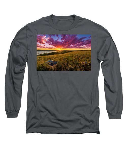Sunset Over Lake Oahe Long Sleeve T-Shirt