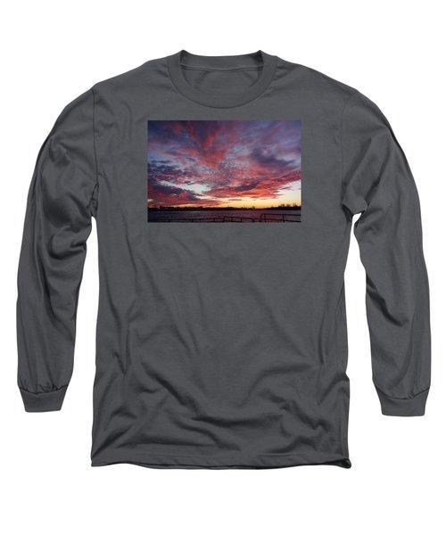 Long Sleeve T-Shirt featuring the photograph Manasquan Inlet Sunset    by Melinda Saminski