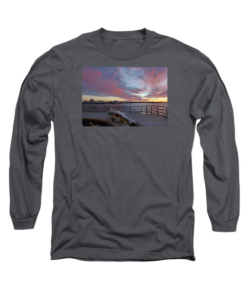 Sunset Over Manasquan Inlet 3 Long Sleeve T-Shirt by Melinda Saminski