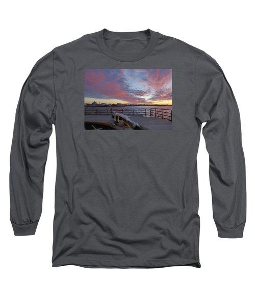 Long Sleeve T-Shirt featuring the photograph Sunset Over Manasquan Inlet 3 by Melinda Saminski