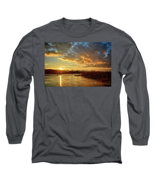 Sunset Over Marsh Long Sleeve T-Shirt by Bonfire Photography