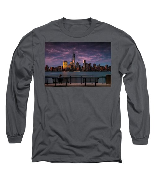 Long Sleeve T-Shirt featuring the photograph Sunset Over New World Trade Center New York City by Ranjay Mitra