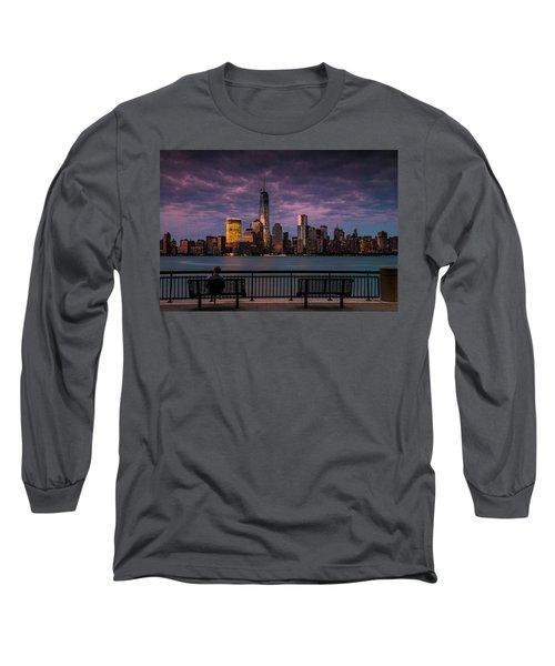 Sunset Over New World Trade Center New York City Long Sleeve T-Shirt
