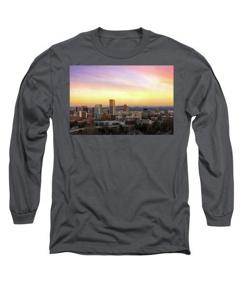 Sunset Over Portland Cityscape And Mt Hood Long Sleeve T-Shirt