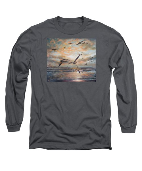 Sunset Over The Sea Long Sleeve T-Shirt by Vali Irina Ciobanu
