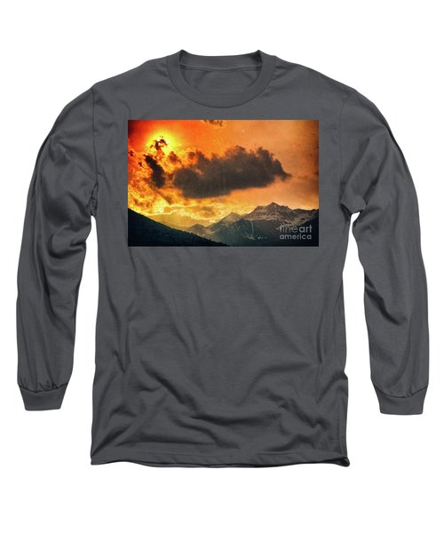Long Sleeve T-Shirt featuring the photograph Sunset Over The Alps by Silvia Ganora