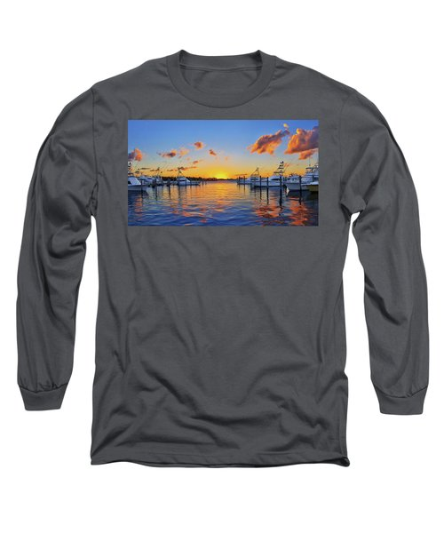Sunset Over The Sailfish Marina In Riviera Beach Florida Long Sleeve T-Shirt