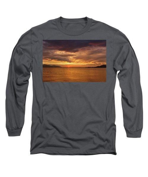 Sunset Over The Sea, Opuzen, Croatia Long Sleeve T-Shirt
