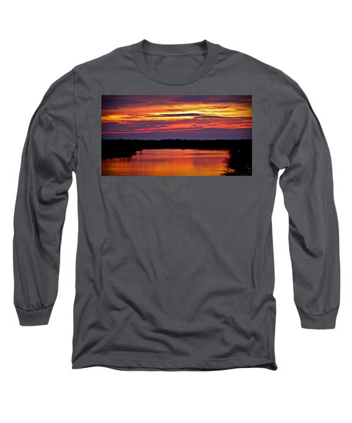 Sunset Over The Tomoka Long Sleeve T-Shirt by DigiArt Diaries by Vicky B Fuller