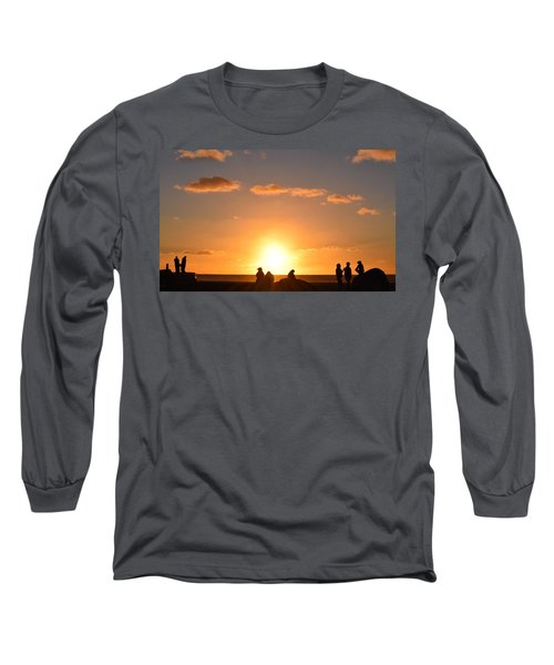 Sunset People In Imperial Beach Long Sleeve T-Shirt by Karen J Shine