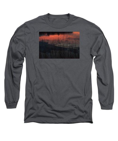 Sunset Reeds Long Sleeve T-Shirt by Gary Eason