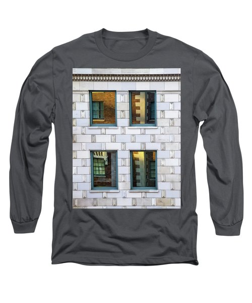 Sunset Reflections In Windows Long Sleeve T-Shirt by Gary Slawsky