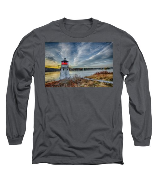 Sunset, Squirrel Point Lighthouse Long Sleeve T-Shirt