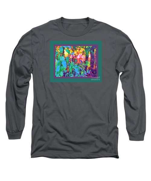 Long Sleeve T-Shirt featuring the photograph Sunset Thru The Trees Green Border by Shirley Moravec