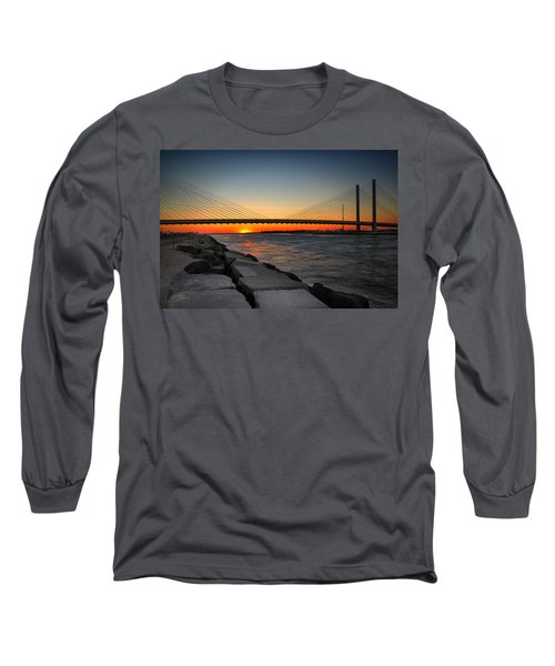 Sunset Under The Indian River Inlet Bridge Long Sleeve T-Shirt