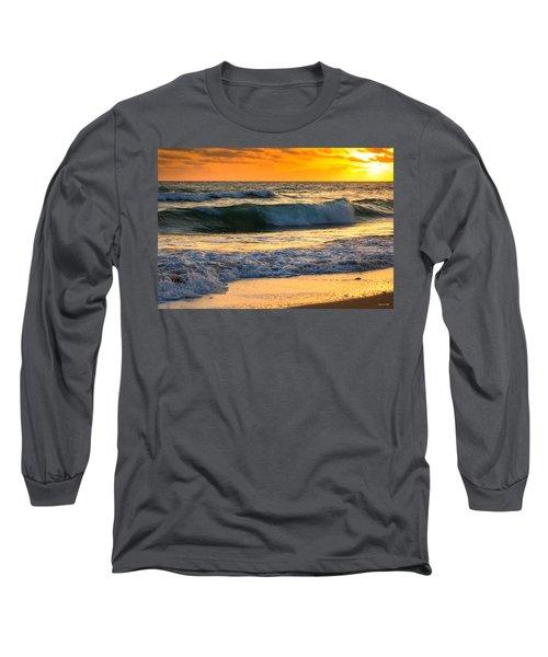 Sunset Waves Long Sleeve T-Shirt by Rebecca Hiatt