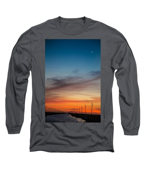 Sunset With Moon Sliver Long Sleeve T-Shirt