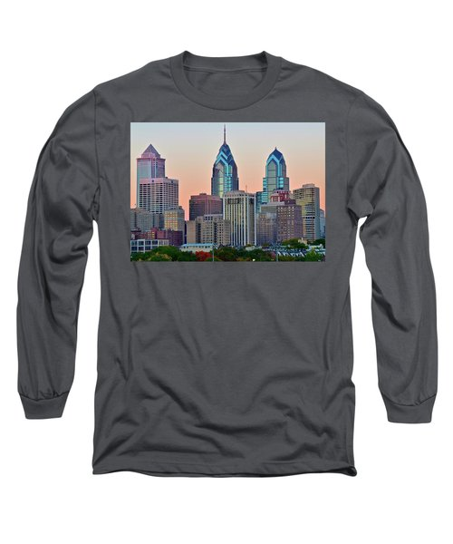 Long Sleeve T-Shirt featuring the photograph Sunsets Glow In Philly by Frozen in Time Fine Art Photography