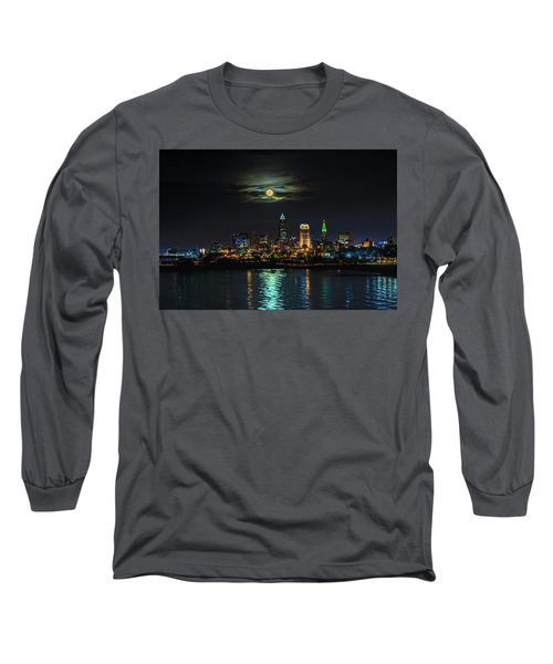 Super Full Moon Over Cleveland Long Sleeve T-Shirt