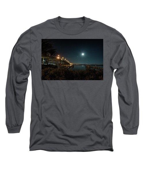 Super Moon And Bridge Lights Long Sleeve T-Shirt