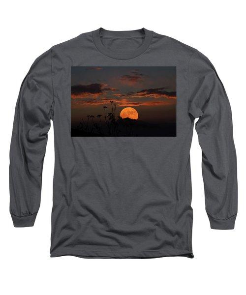 Super Moon And Silhouettes Long Sleeve T-Shirt by John Haldane
